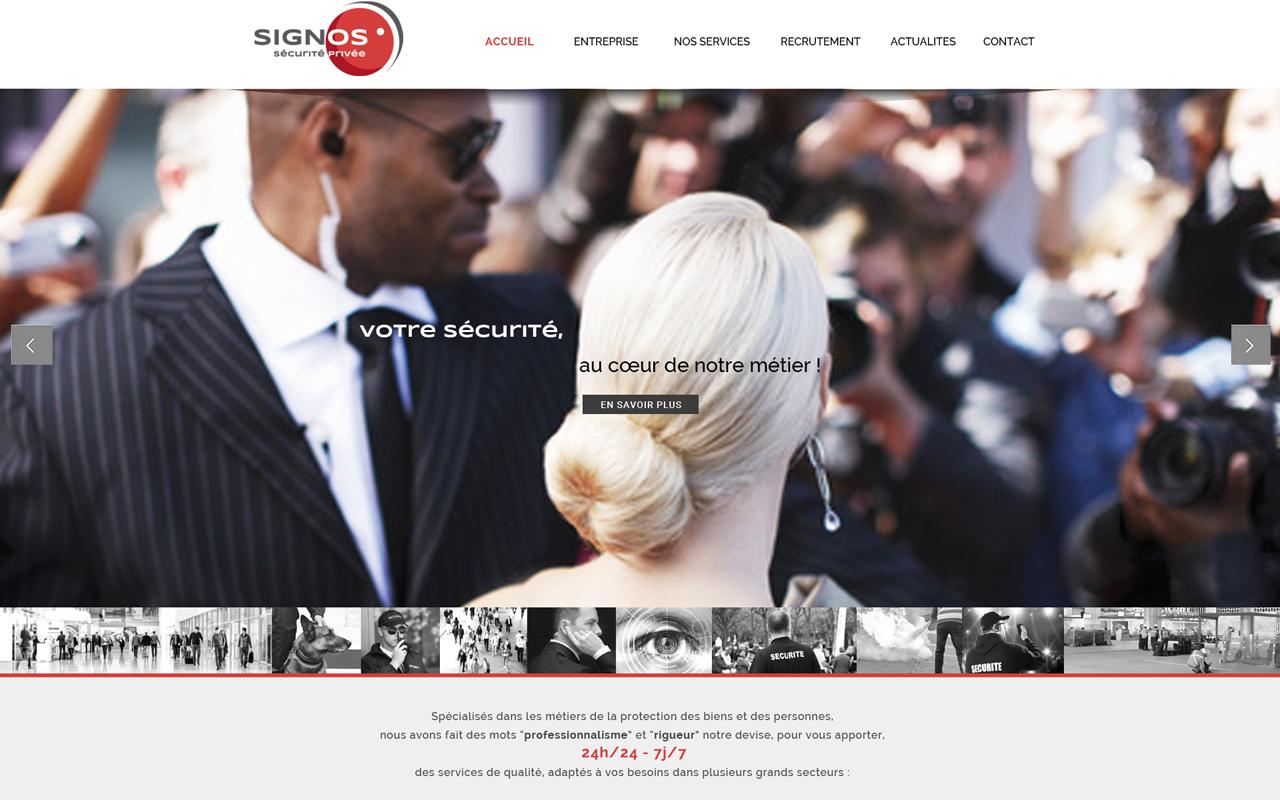 page accueil site web signos-securite.fr